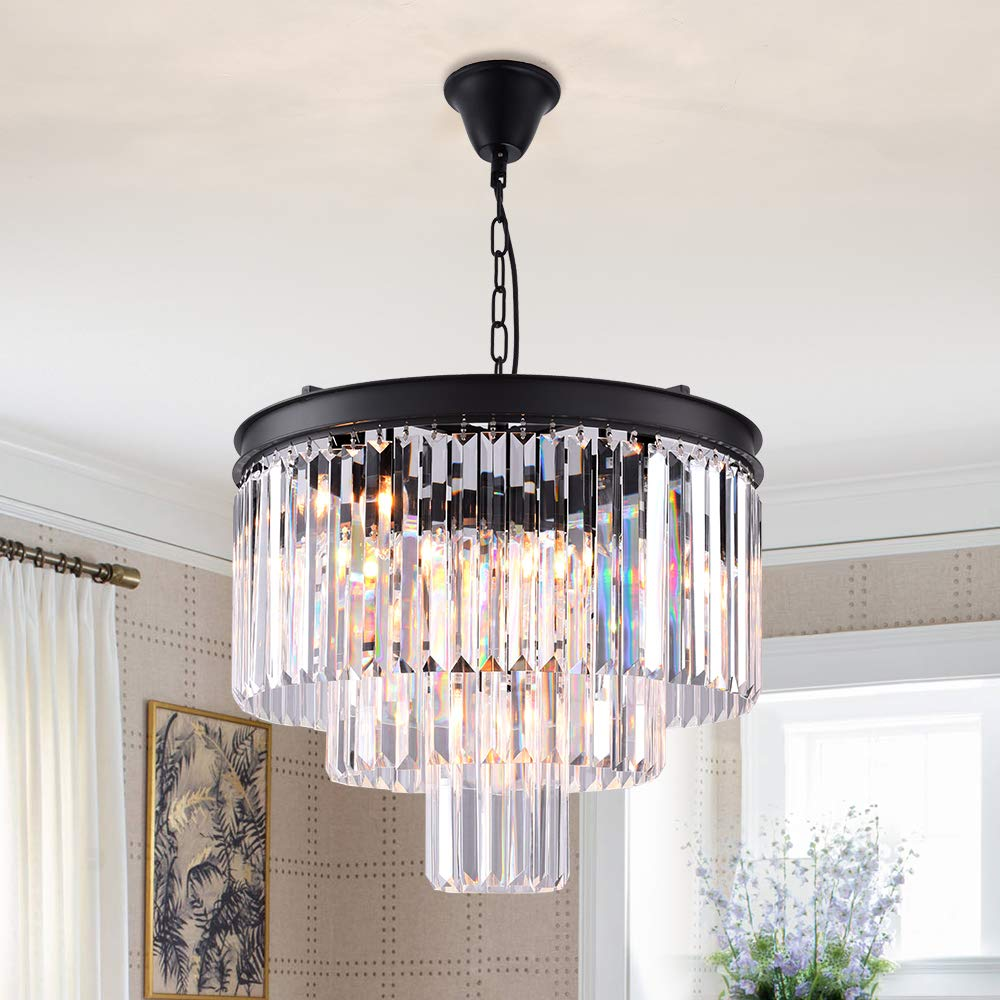 Zgear 7 lights luxury modern contemporary crystal chandelier ceiling light pendant light for dining room living room 7 lights