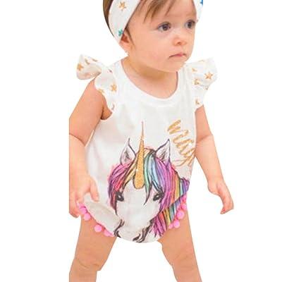 Elyseesen Sœurs Installé Bébé Sans Manches Licorne Impression de Lettre Gland Vêtements Combinaison