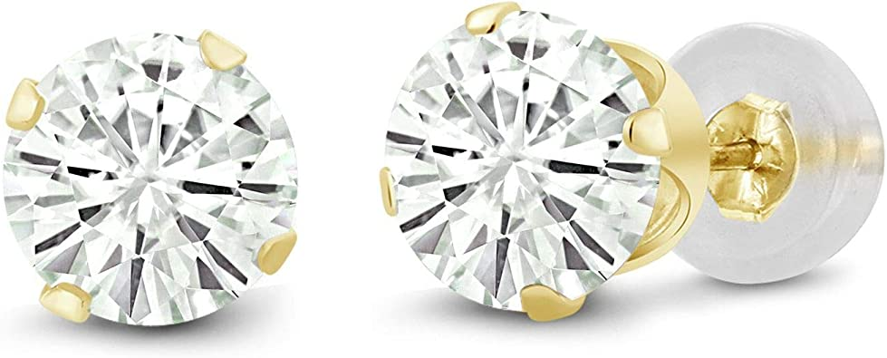 2.03 CARAT 14K SOLID WHITE OR YELLOW GOLD HEART SAPPHIRE STUD EARRINGS BASKET