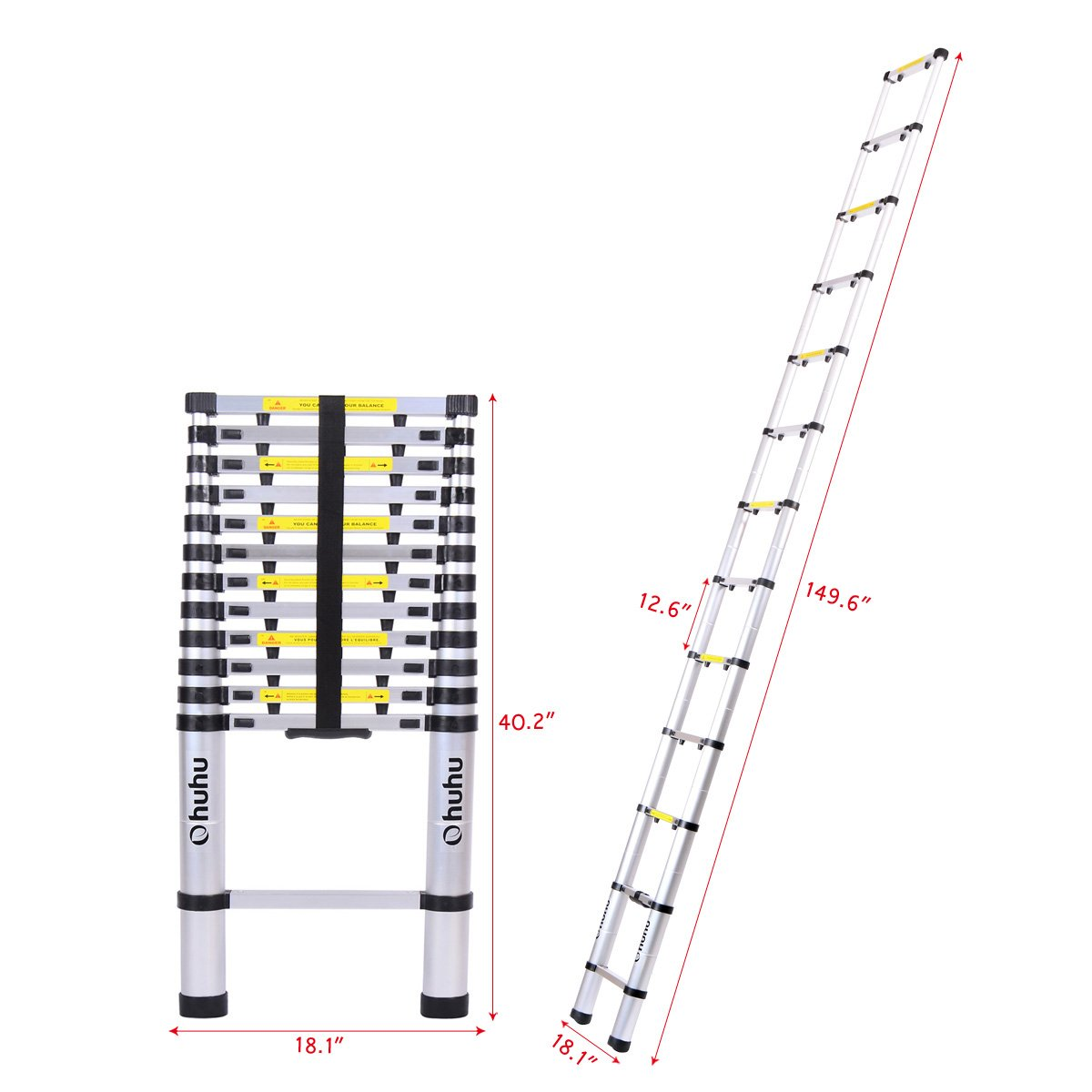 Ohuhu 12.5ft Aluminum Telescopic Extension Ladder, EN131 Certified Extendable Telescoping Ladder with Spring Loaded Locking Mechanism Non-slip Ribbing 330 Pound Capacity by Ohuhu (Image #6)