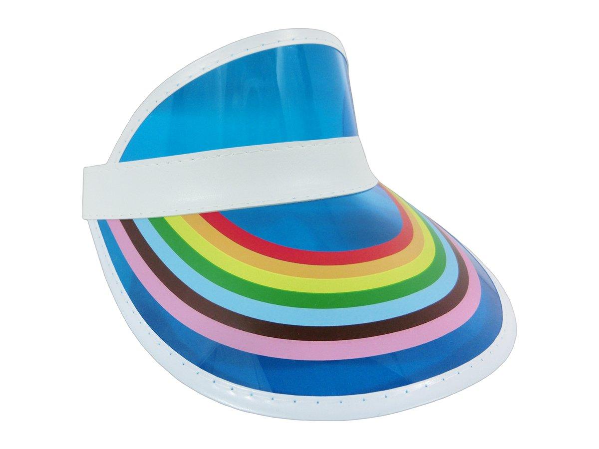 Retro Rainbow Visor Hat Tennis Beach Plastic Color Clear Sun Bingo Vegas Golf Hat