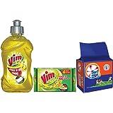 Vim Dish Wash Lemon Gel - 500 ml with Bar - 200 g (Pack of 3) and Surf Excel Detergent Bar - 200 g (Pack of 4)