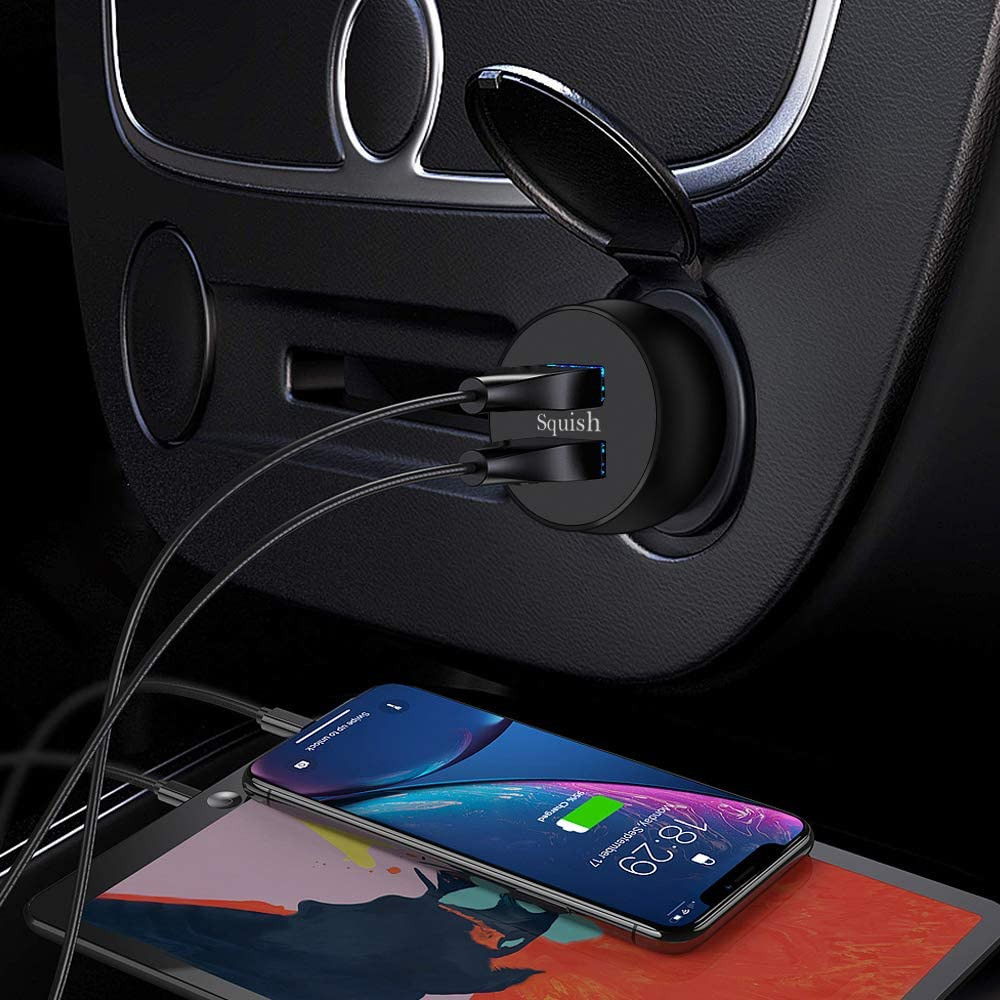 Car Charger Samsung Galaxy S10//S10+ S9//S9+ Squish Quick Charge 3.0 Car Charger Adapter UL Listed LG G6 // V30 and More 5.4A 30W Dual USB Port Aluminum Alloy Fast Car Charger for iPhone XR//XS//X