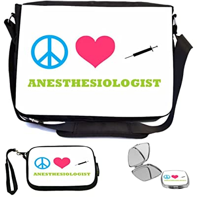 Rikki Knight Peace Love Anesthesiologist Design COMBO Multifunction Messenger Laptop Bag - with padded insert for School or Work - includes Wristlet & Mirror