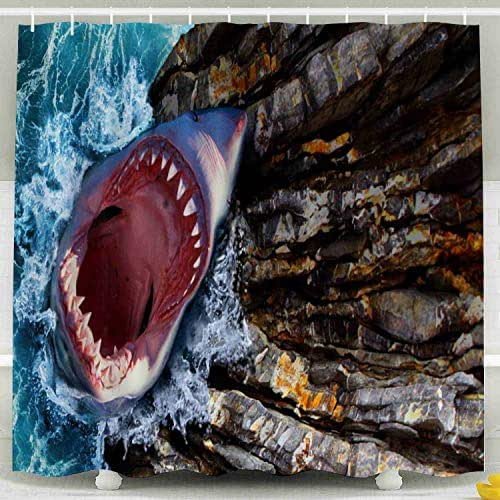 Tooperue Shower Curtain for Bathroom with Hooks White Shark with Open Mouth Out of The Water Cliffs and Waves Sea Mountains Full Sharp Teeth 78×72 Inch,Eco-Friendly,No Oder,Waterproof,Peach Orange