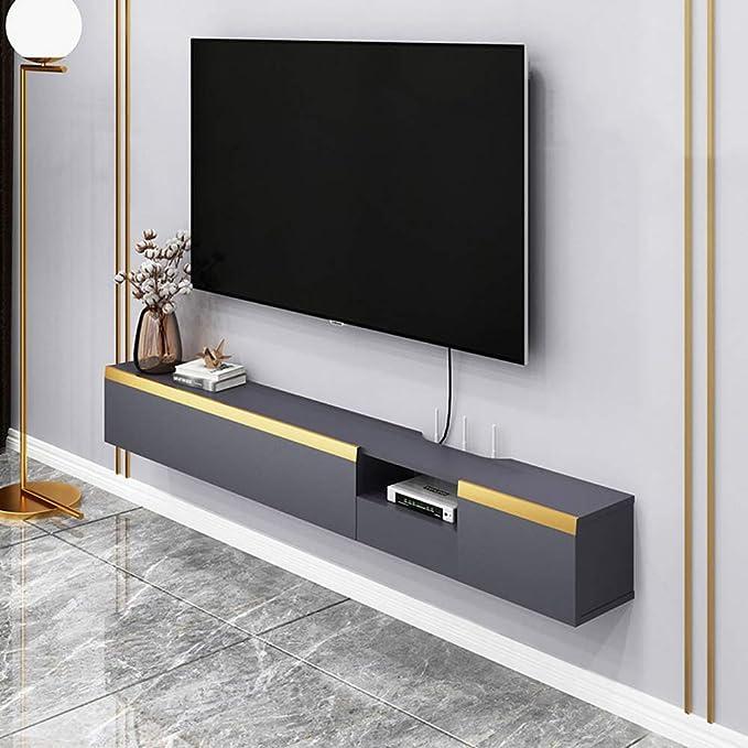 Mueble TV de pared Estante de la pared Estante flotante dormitorio sala de estar Mueble de pared colgante enrutador Set-top box Caja de cable Sky box Armario de almacenamiento Con cajon: Amazon.es: