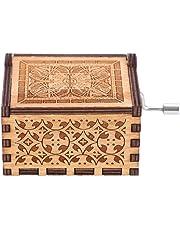 Caja de música, caja de música de manivela de madera Caja de música de madera