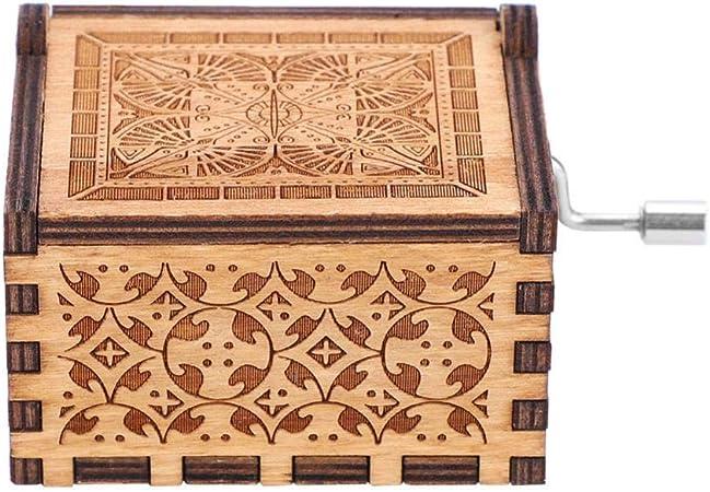 Caja de música de madera manivela – 1 pieza de madera manivela de manivela caja de música mecánica manivela clásica caja de música manualidades regalo de cumpleaños decoración del hogar: Amazon.es: Hogar