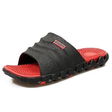 d2463ec991309a Summer Slippers Men Casual Sandals Eva Massage Beach Men s Sandals Flip Flop  BLACK RED 7.5