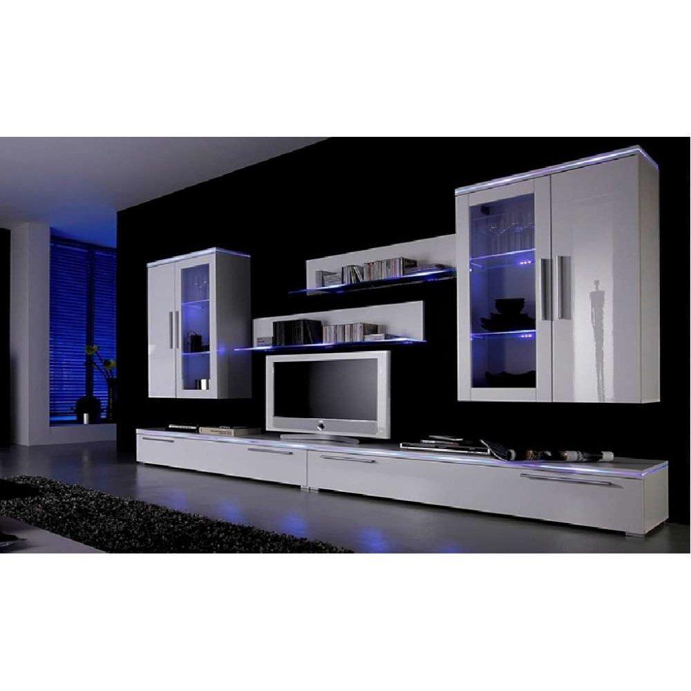 JUSThome PHANTASY LED Parete da soggiorno Parete attrezzata (AxLxP): 186x302x40 cm Bianco Opaco | Bianco Lucido