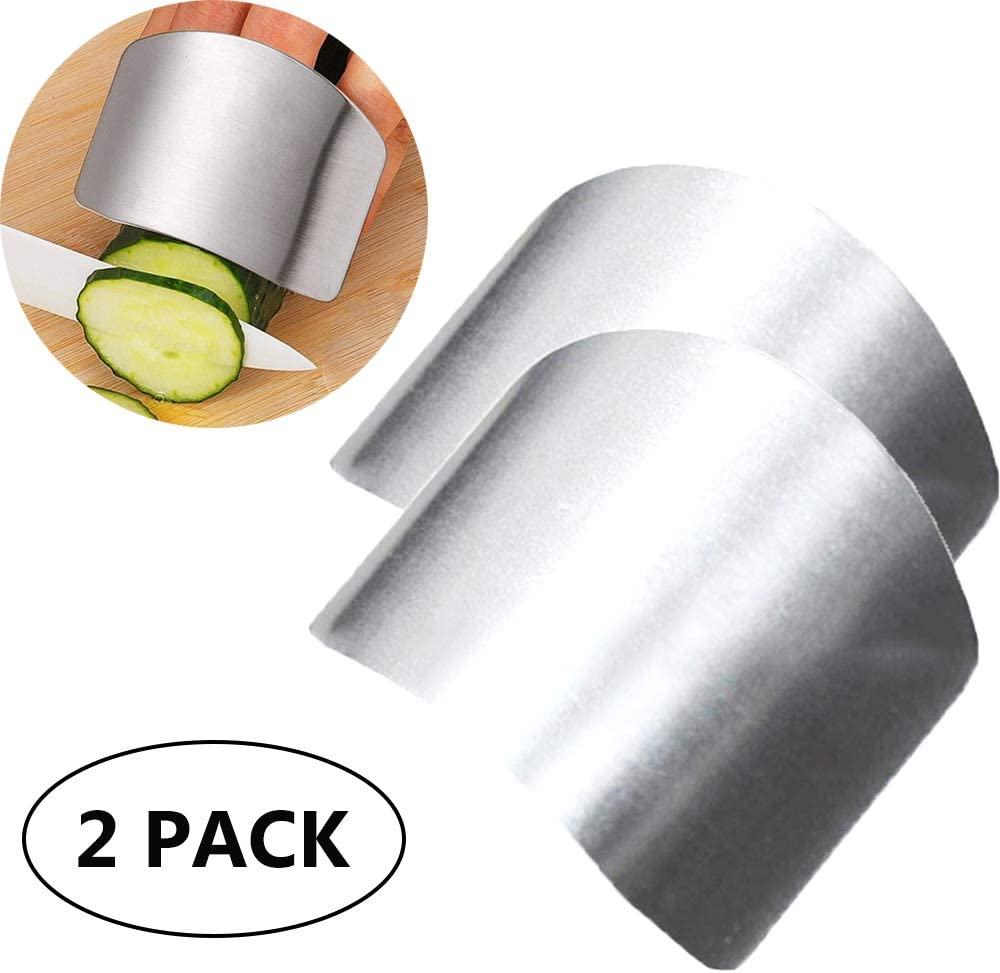ZOCONE 2 PCs Finger Guard For Cutting Kitchen Tool Finger Guard Stainless Steel Finger Protector Avoid Hurting When Slicing and Dicing Kitchen Safe Chop Cut Tool (PH0088)