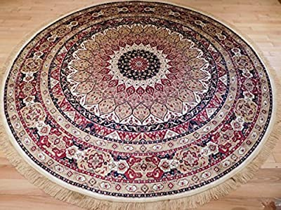 Luxury High End Shiny Silk Area Rugs Persian Silk Tabriz Design Round 6ft Shape Rugs 6x6 Circle Ivory Rug Silk 8ft Traditional Rugs