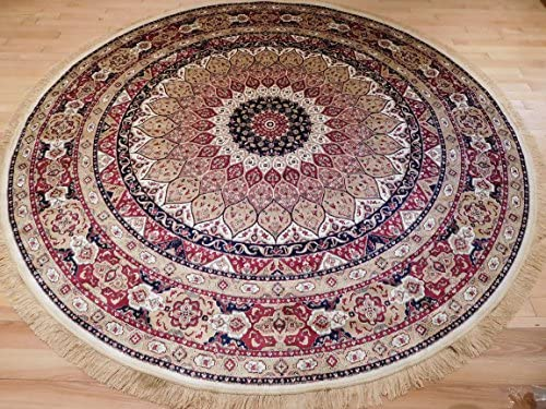 Luxury High End Shiny Silk Area Rugs Persian Silk Tabriz Design Round Rugs 8ft Circle Ivory Rug Silk 8×8