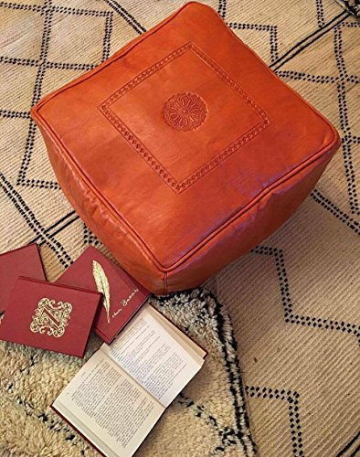 Moroccan Square Leather Poufs / Ottomans