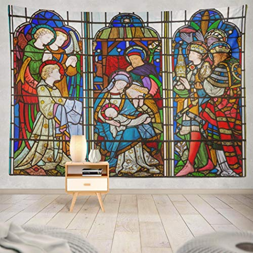 Stained Glass Nativity (Soopat Tapestry Polyester Fabric London Great Britain September Stained Glass and Bell from Christmas Wall Hanging Tapestry Decorations for Bedroom Living Room Dorm 80X60)