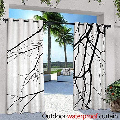 Tim1Beve Outdoor Window Curtains Black and White Macro Leafless Winter Tree Branches Idyllic Twigs of Oak Nature Print Waterproof Patio Door Panel 72