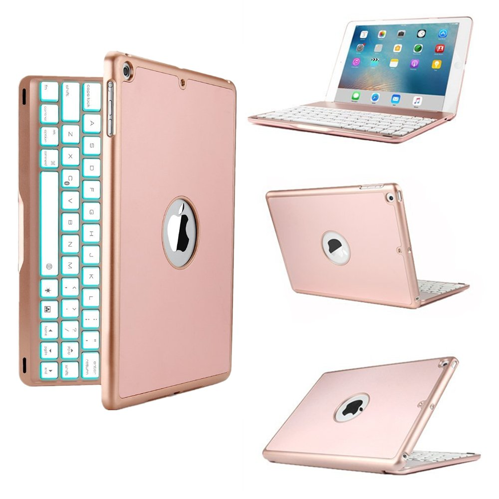 LED Backlit Keyboard Case for iPad Pro 9.7,TechCode 7 Colors Wireless Bluetooth Keyboard Case Smart Stand Colorful with Executive Multi Function Case for iPad Pro 9.7 inch Tablet(Rose gold)