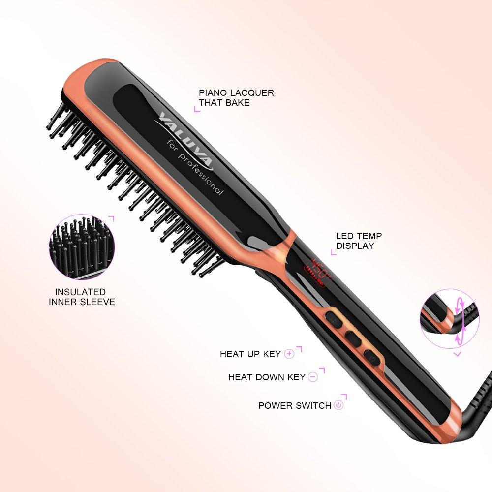 Hair Straightening Brush YALUYA Hair Straightener Brush Ceramic Portable Electric Heat Brush Straightening Irons Hair Care Brush Anti Scald Ionic Teeth Comb for Travel Women's Day Gift (Black) by YALUYA (Image #3)