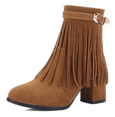 SHOWHOW Damen Fashion Quaste High Heels Knöchelhoche Stiefel Pumps Schwarz 33 EU L0rAkgkOC6