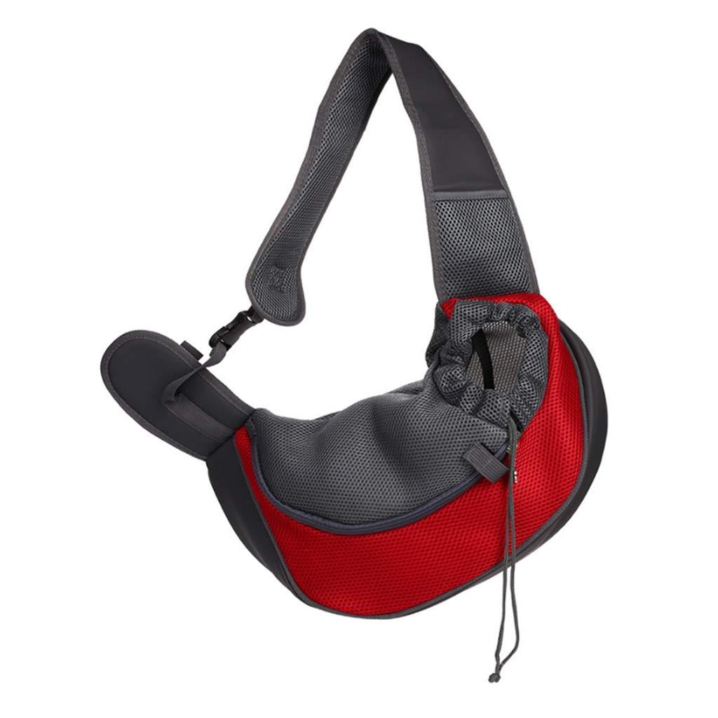 Red 31X22cm Red 31X22cm Dog Carrier Pet Backpack Outdoor Travel Breathable Mesh Shoulder Bag Sling Bag (bluee + Red)