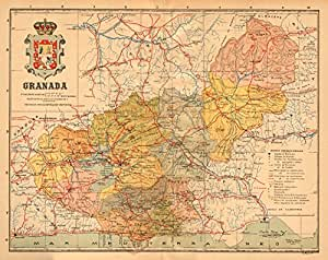 Granada. Andalucía. Mapa Antiguo de la Provincia. Alberto Martin - C1911 - Mapa Antiguo Vintage - Mapas Impresos de España: Amazon.es: Hogar