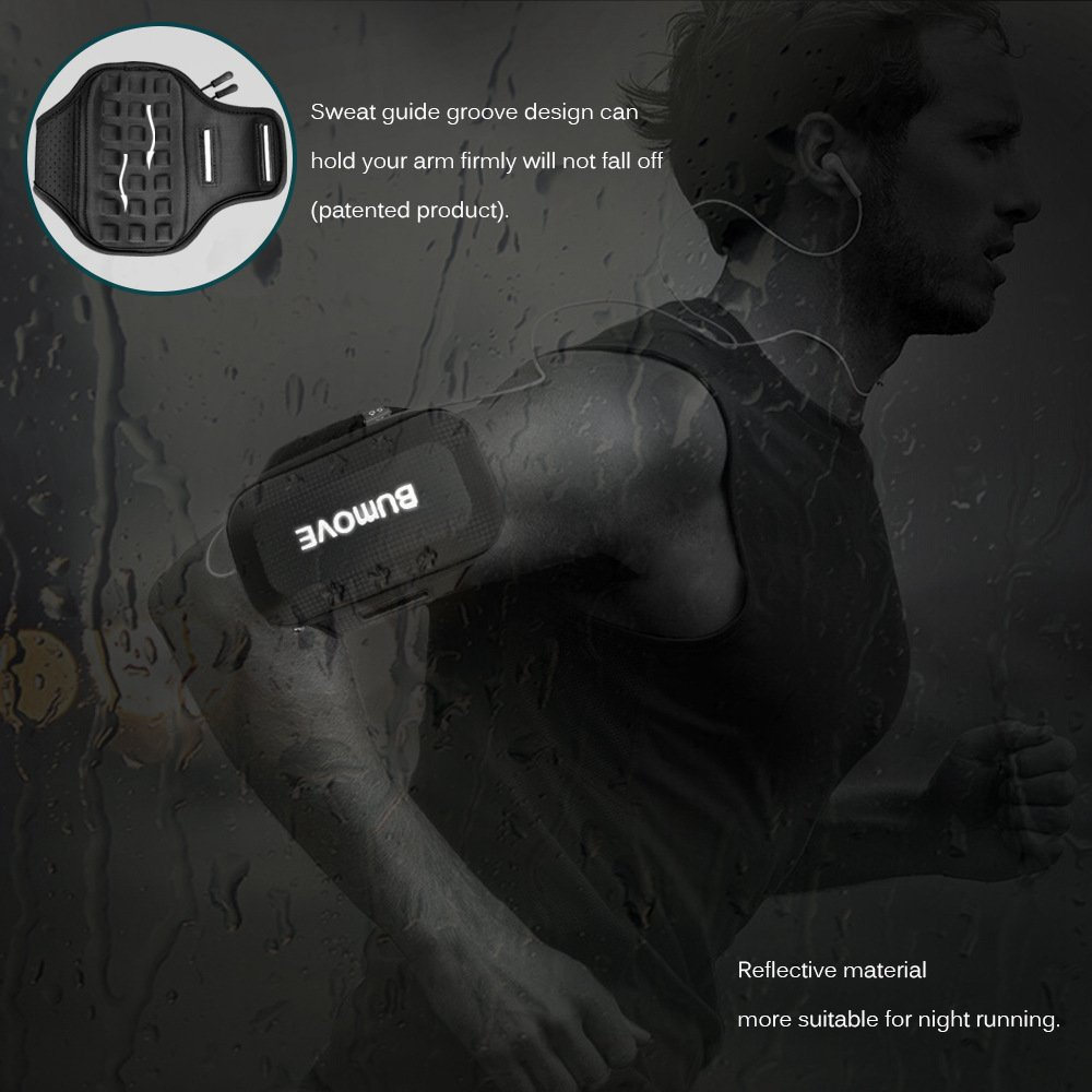 Large Running Armband, BUMOVE Waterproof Gym Exercise/Workout Arm Band Wallet Bag for iPhone X, iPhone 6/7/8 Plus, Samsung Galaxy S7, S8/S9 Plus, Note 8 with Card Holder (Black) by BUMOVE (Image #8)