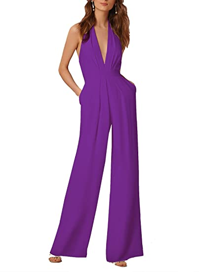 81702d49da5e Image Unavailable. Image not available for. Color  Coolred-Women Overall  Sleeveless High Neck Leisure Sexy ...