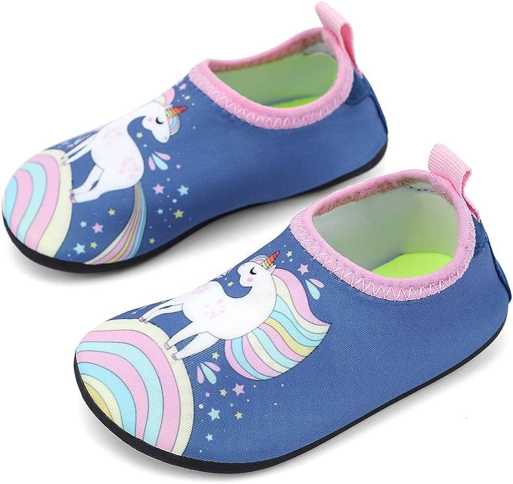 IceUnicorn Water Socks for Toddler Kids Beach Swim Socks Boys Girls Non Slip Aqua Socks(Blue Toddler Size 8)