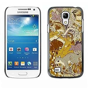 Be Good Phone Accessory // Dura Cáscara cubierta Protectora Caso Carcasa Funda de Protección para Samsung Galaxy S4 Mini i9190 MINI VERSION! // Floral Pattern Yellow Mustard Vintage