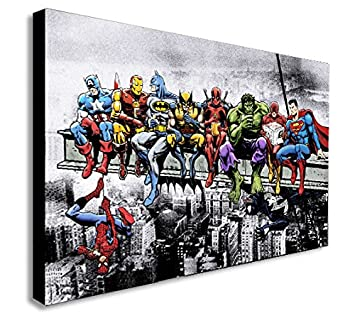 Fab Marvel Dc Comics Super Heroes Lunch Skyscraper Sur Toile