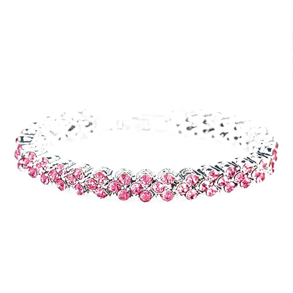 Wintefei Women Fashion Slight Heart Rhinestone Inlaid Bracelets Gifts Party Accessory - Pink