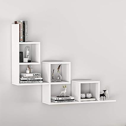Arancione BAKAJI Libreria Scaffale Mensole da Parete Angolare Design Moderno in Legno Melaminico con 5 Ripiani ad Angolo Dimensioni 123 x 20 cm