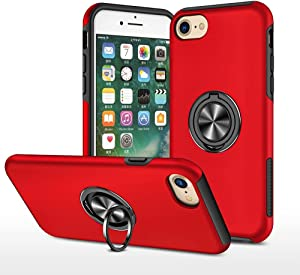 EYZUTAK Case for iPhone 7 Plus iPhone 8 Plus,Dual Layer Hard Military Case with 360 Degree Ring Stand Silicone Bumper Shockproof Protective Case (Camera Protection) Magnetic Car Holder Cover-Red