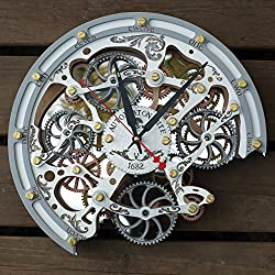 Automaton Bite 1682 White HANDCRAFTED moving gears wall clock by WOODANDROOT transparent steampunk wall clock, unique, personalized gifts, anniversary gift, large wall clock, home decor