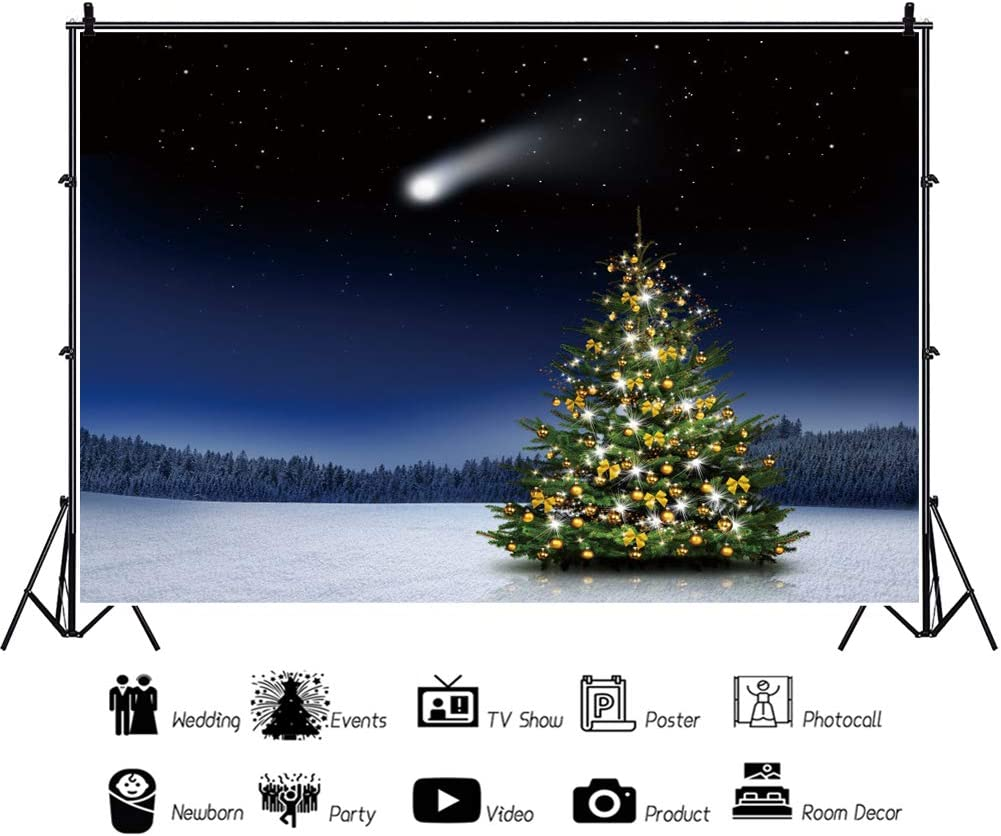 Yeele Christmas Backdrop Meteor Shooting Star in Starry Sky Photography Background Kids Adutls Artistic Portrait 10x8ft Xmas Party Room Decoration Photo Booth Props Photoshoot Banner Video Wallpaper