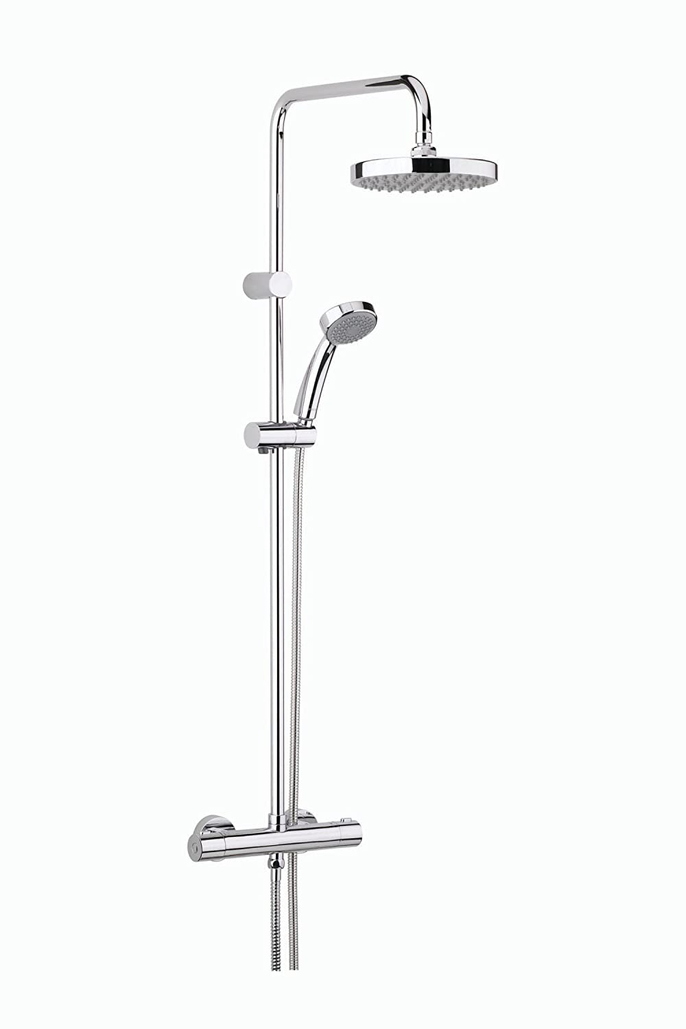 Bristan CR SHXDIVFF C Carre Exposed Fixed Head Bar Shower with Diverter and Kit, Chrome