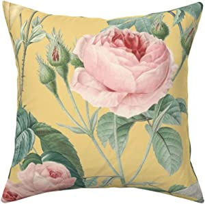 Roostery Throw Pillow, Floral Flower Garden Nature English Cottage Yellow Chic Butterfly Print, Linen-Cotton Canvas, Knife Edge Accent Pillow 18in x 18in Optional Insert