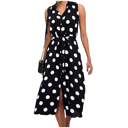 892e8659967 FreelyWomen Button Down Sleeveless Chiffon Strappy Lapel Print Midi Dress  at Amazon Women s Clothing store