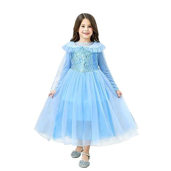 Vicloon Disfraces de Niña, Disfraz de Princesa Elsa & Anna Reina Frozen con Pantalones, Corona y Cetro, Vestido de Princesa Elsa para Carnaval, ...