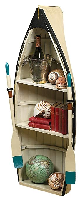 Bookshelf Glass Table 47quot Wood Rowing Boat Bookcase Shelf