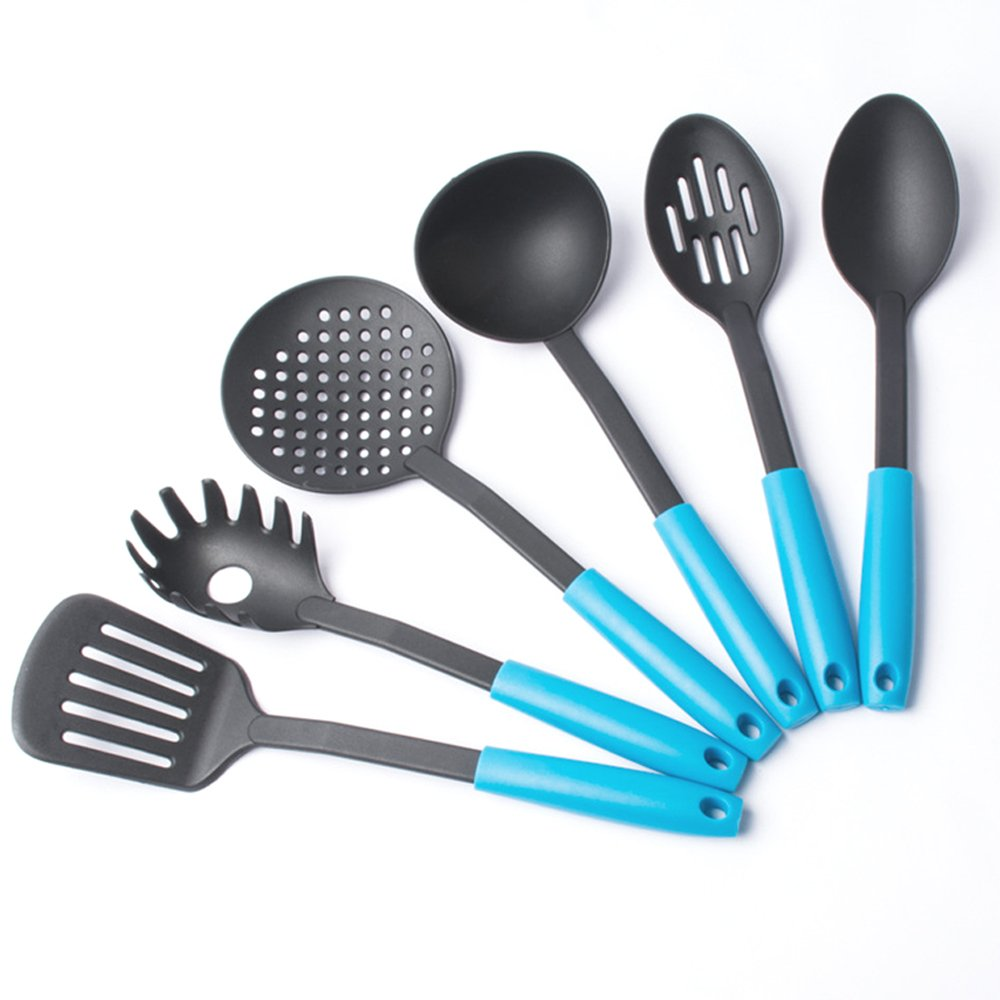 JCNCE Pack of 6 Heat Resistant Nylon Raised Up Kitchen Cooking Utensils Set (Blue) HF-62307