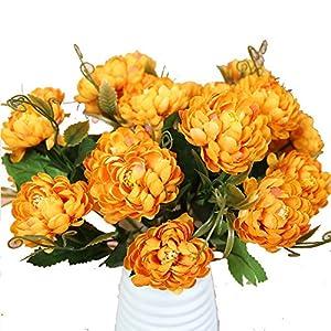 Bazahy Artificial Fake Flower European Simulation of Peony Wedding Bouquet Hydrangea Decor (Yellow) 82