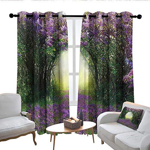 Lewis Coleridge Blackout Curtain Panels Window Draperies Garden,Magic Misty Forest Spring,for Bedroom, Kitchen, Living Room 100