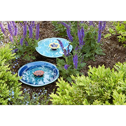 Evergreen Garden Turquoise with Yellow Flower Ceramic Bee Bath