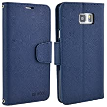 Samsung Galaxy Note 5 Case, Note5 Leather Case, Folio Card Slot Wallet Cover with Magnetic Closure, Carrying Strap and Stand Function for Samsung Galaxy Note5 (Dark Blue)