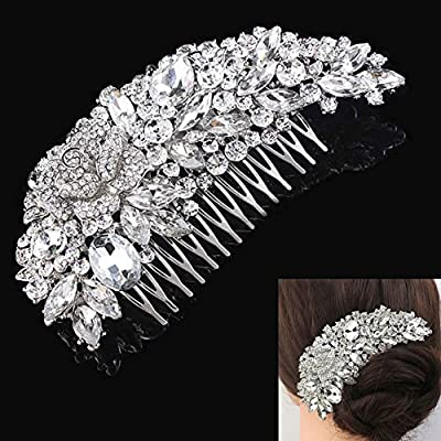 Fanamskl Women's Bridal Wedding Crystal Rhinestones Hair Comb Decor Flower Style Charming Clip Hair Pin Hair Accessories