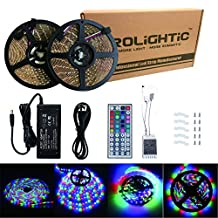 RoLightic 2 Rolls (10M / 32.8ft) 3528 Waterproof 600LEDs RGB Color Changing Flexible Led Strip Light Kit with 44key IR Remote Controller + 12V 5A Power Supply for Home Decorative