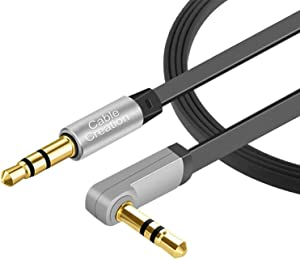 Aux Cable, CableCreation 6 FT Flat 3.5mm Auxiliary Audio Stereo Cord 90 Degree Right Angle Compatible with Car,Home Stereos, Headphones,Apple iPod iPhone iPad, Smartphone, MP3 Player, Black