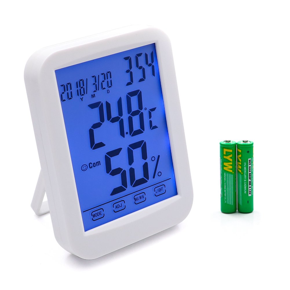 Digital Hygrometer Multifunctional Thermometer with Backlight Touchscreen Temperature Humidity Temperature Monitor for Indoor Use (White)
