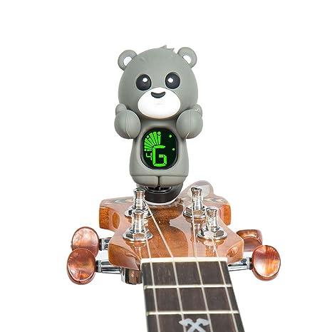 Clip-On Afinador para guitarra ukelele bajo Violín dibujos animados oso, gris